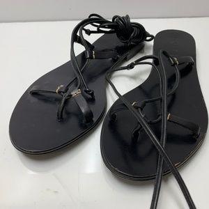 J. Crew Black Leather Flat Sandals Open Toe Women